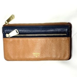 Fossil | Camel and Navy Pebbled Leather Wallet
